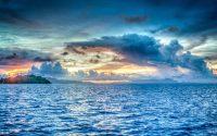 Hav i solnedgang